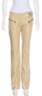 Plein Sud Jeans Leather Mid-Rise Pants