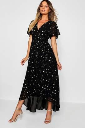 boohoo Metallic Star Print Wrap Maxi Dress