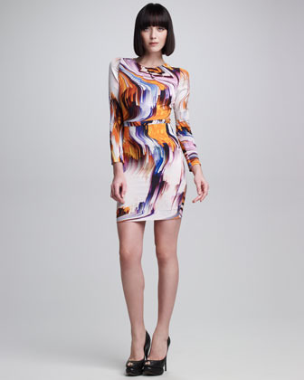 Vera Wang Long-Sleeve Oil Slick Printed Dress