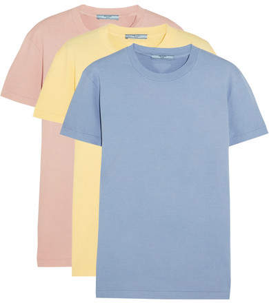 Prada - Set Of Three Cotton T-shirts - Sky blue