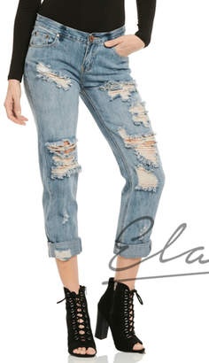 Elan International Distressed Boyfriend Jeans
