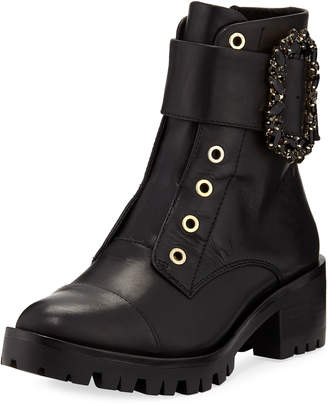 Karl Lagerfeld Paris Piper Embellished-Strap Combat Bootie
