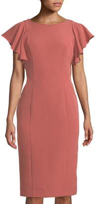 Tahari ASL Giselle Flutter-Sleeve Sheath Dress