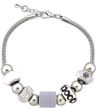clear DAZZLING DESIGNS Dazzling Designs & White Bead Silver-Plated Cube Bracelet