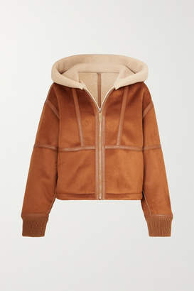 Stella McCartney Hooded Faux Leather-trimmed Faux Shearling And Suede Jacket - Brown