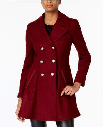 Laundry by Shelli Segal Double-Breasted Skirted Peacoat, A Macy's Exclusive