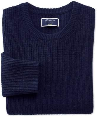 Charles Tyrwhitt Navy Lambswool Rib Crew Neck Sweater Size Large