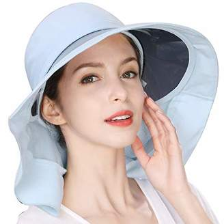 Jeff & Aimy Summer Ladies UPF 50 Sun Hats for Women Wide Brim Packable with Neck Protection Chin Strap Adjustable Ponytail Hole Khaki Blue