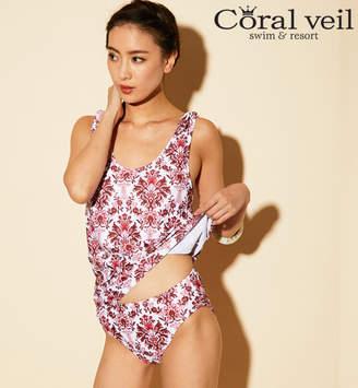 サンアイリゾート サンアイミズギラクエン 【Coral veil Cruise】ショルダーリボン付きダマスク柄タンキニ