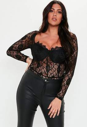 Missguided Plus Size Black Long Sleeve Lace Bodysuit
