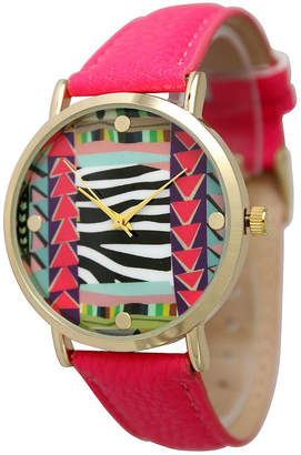OLIVIA PRATT Olivia Pratt Womens Multi-Color Pattern With Gold-Tone Studs Dial Hot Pink Leather Watch 13628Hot Pink