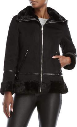 Lauren Ralph Lauren Black Faux Shearling Bomber Jacket