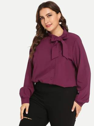 Shein Plus Solid Self-Tie Bow Blouse