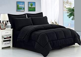 Elegant Comfort Wrinkle Resistant - Silky Soft Dobby Stripe Bed-in-a-Bag 8-Piece Comforter Set -Hypoallergenic - King Black