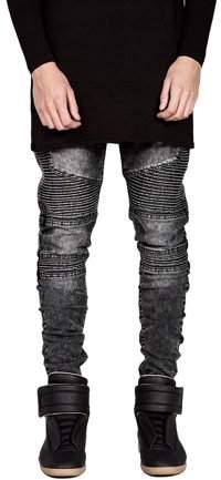 Smallrain Trendy Designed Straight Pants Casual Men Jeans Slim Elastic Denim Trousers