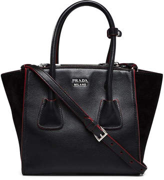 Prada Double Handle Twin Pocket Tote Piping Glace Small Black/Red