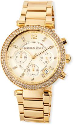 MICHAEL Michael Kors Parker 39mm Chronograph Bracelet Watch w\/ Crystals Gold