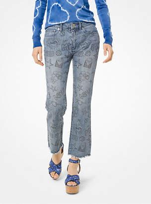 MICHAEL Michael Kors Sketch-Print Cropped Jeans