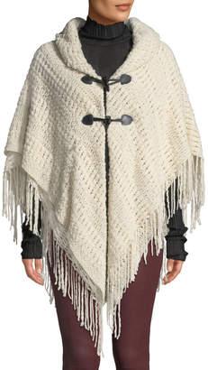 Neiman Marcus Crochet Raschel Toggle-Front Poncho