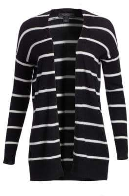 Saks Fifth Avenue Women's COLLECTION Striped Featherweight Cashmere Cardigan - Ebony Snow Combo - Size Medium