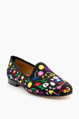 Del Toro Floral Embroidered Linen Slipper