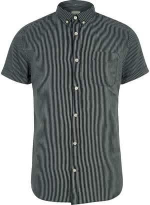 River Island Mens Black stripe short sleeve slim fit shirt