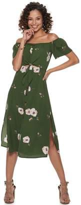 Trixxi Juniors' Print Off-the-Shoulder Midi Dress