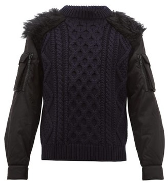 Prada Faux Fur Trim Nylon Sleeve Wool Sweater - Mens - Black Navy