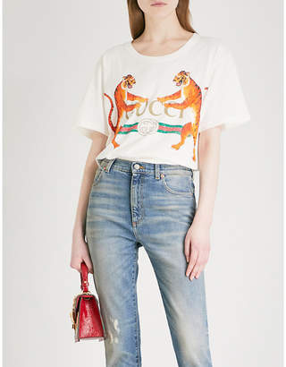 Gucci Tiger-print cotton-jersey T-shirt