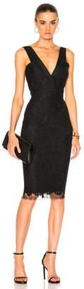 Victoria Beckham Floral Lace V Neck Fitted Dress