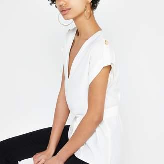 River Island Womens White tie waist T-shirt