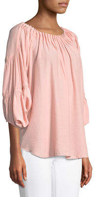 Neiman Marcus Pleated Boat-Neck Gathered Top