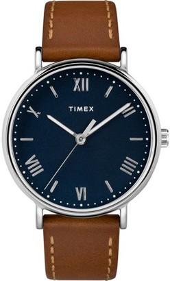 Timex Men's Southview 41 Tan/Silver-Tone/Blue Watch, Leather Strap