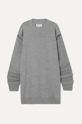 Maison Margiela Cutout Wool And Cashmere-blend Sweater - Gray