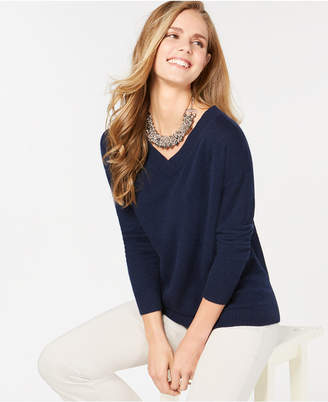 Charter Club Pure Cashmere Oversized V-Neck in Sweater in Regular & Petite Sizes
