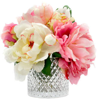 Willa Arlo Interiors Mixed Peonies in Diamond Cut Glass Vase