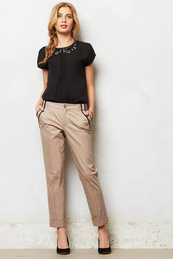 Anthropologie Piped Lou Trousers