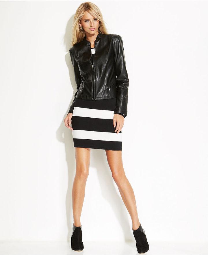 INC International Concepts Faux-Leather-Trim Striped Sweater Dress