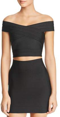 Wow Couture Elle Off-The-Shoulder Cropped Bandage Top