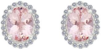 Premier 1.65ct Morganite & 1/5cttw Diamond HaloEarrings, 14K