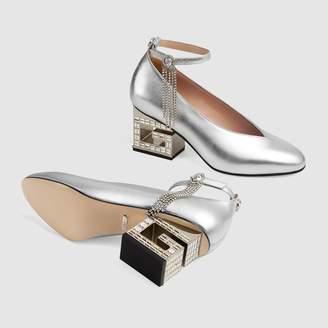 Gucci Mid-heel pump with crystal G heel
