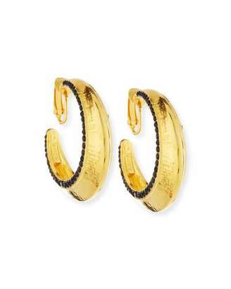 Jose & Maria Barrera 24K Gold-Plated Hoops with Jet Black Crystals