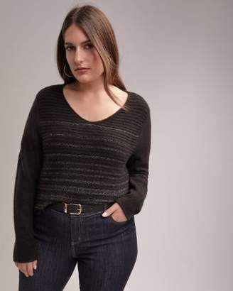 Boat Neck Knit Sweater with Lurex Stripes - d/C JEANS