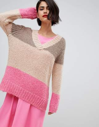 DAY Birger et Mikkelsen 2nd 2NDDAY chunky v-neck sweater in color block