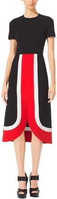 Michael Kors Color-Block Wool-Crepe Midi Dress
