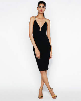 Express O-Ring Plunging Midi Dress