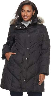London Fog Tower By Plus Size TOWER by Down Faux-Fur Trim Puffer Jacket