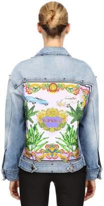 Versace Cotton Denim Jacket W/ Silk Scarf Insert