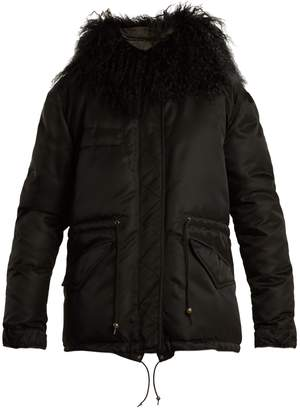 Mr & Mrs Italy Mongolian fur-lined padded field jacket