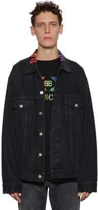 Balenciaga Rainbow Logo Embroidered Denim Jacket